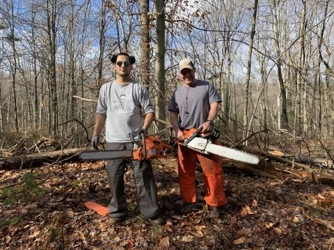 Luis Moreria and John Sokoloski CCT NEMBA members who helped to open up an old trail at West Rock Ridge State Park Hamden, CT. Their mighty chainsaws cleared the path to complete the loop.